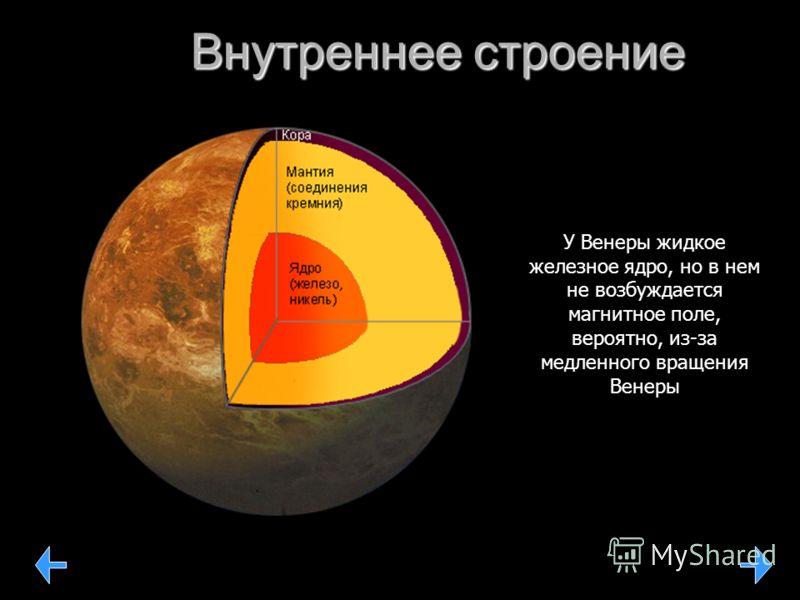Внутреннее строение У Венеры жидкое железное ядро, но в нем не возбуждается магнитное поле, вероятно, из-за медленного вращения Венеры