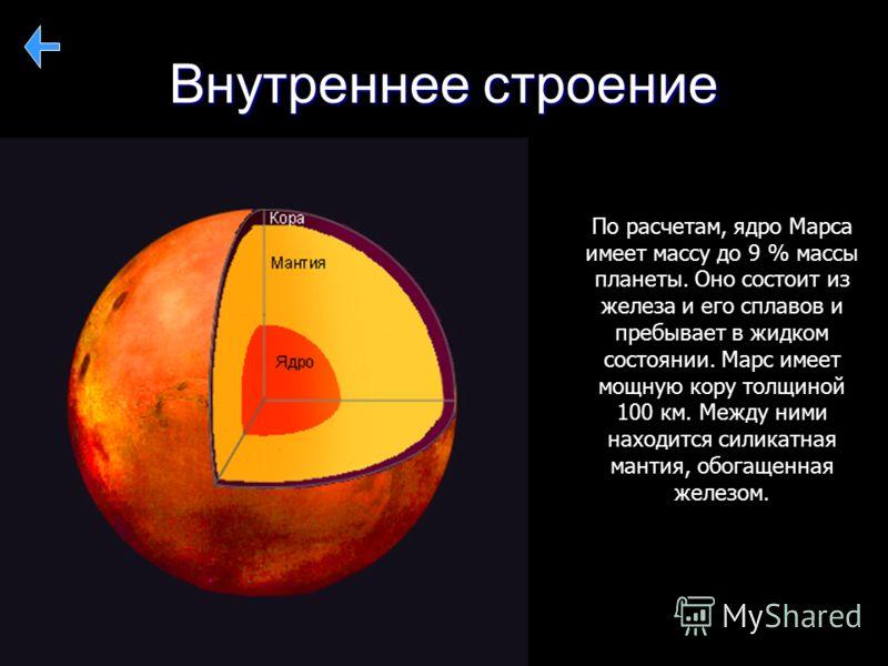 Внутреннее строение По расчетам, ядро Марса имеет массу до 9 % массы планеты. Оно состоит из железа и его сплавов и пребывает в жидком состоянии. Марс имеет мощную кору толщиной 100 км. Между ними находится силикатная мантия, обогащенная железом.