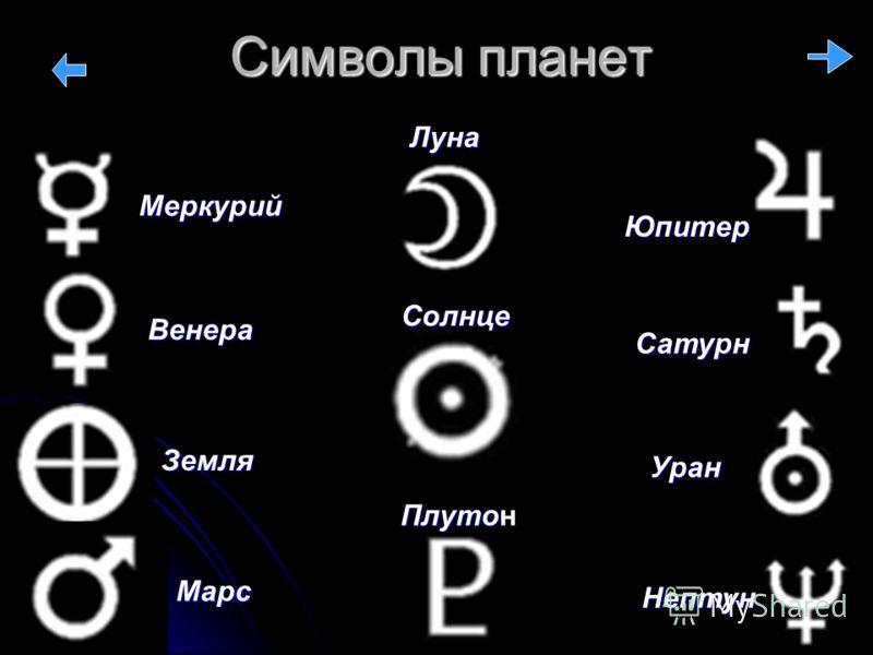 Символы планет Земля Солнце Юпитер Марс Уран Сатурн Меркурий Венера Плуто Плутон Нептун Луна