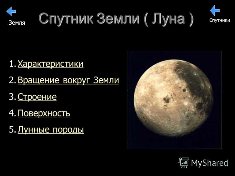 Спутник Земли ( Луна ) 1. 1.ХарактеристикиХарактеристики 2. 2.Вращение вокруг ЗемлиВращение вокруг Земли 3. 3.СтроениеСтроение 4. 4.ПоверхностьПоверхность 5. 5.Лунные породыЛунные породы Спутники Земля