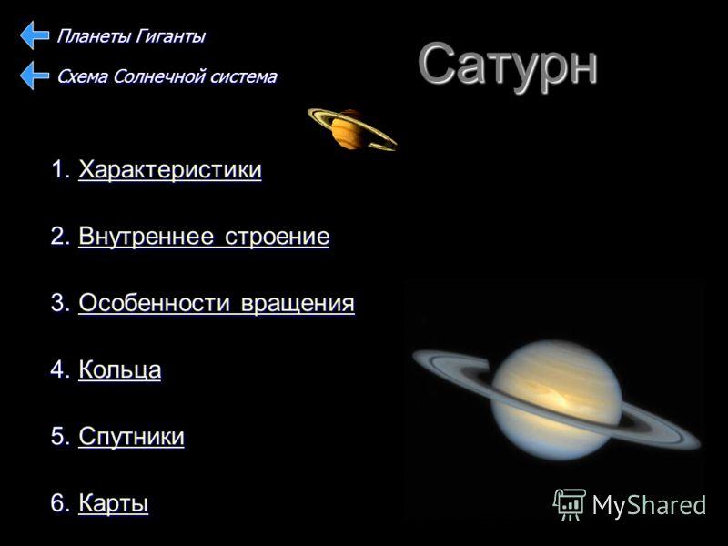 Сатурн 1. Характеристики Характеристики 2. Внутреннее строение Внутреннее строениеВнутреннее строение 3. Особенности вращения Особенности вращенияОсобенности вращения 4. Кольца Кольца 5. Спутники Спутники 6. Карты Карты Планеты Гиганты Схема Солнечно