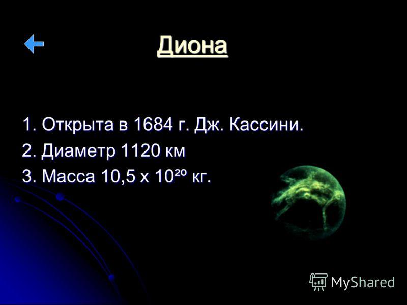 Диона 1. Открыта в 1684 г. Дж. Кассини. 2. Диаметр 1120 км 3. Масса 10,5 х 10²º кг.