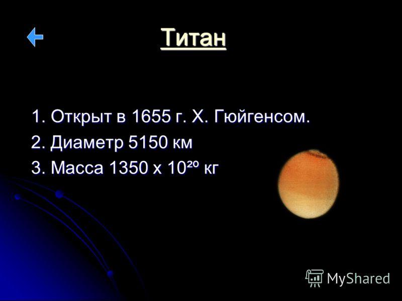 Титан 1. Открыт в 1655 г. Х. Гюйгенсом. 2. Диаметр 5150 км 3. Масса 1350 х 10²º кг
