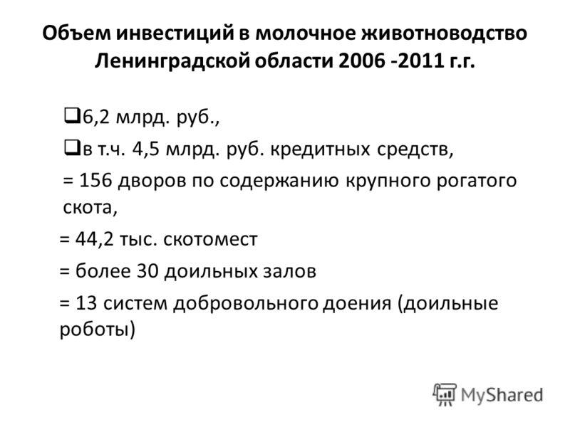 Объем инвестиций в молочное животноводство Ленинградской области 2006 -2011 г.г. 6,2 млрд. руб., в т.ч. 4,5 млрд. руб. кредитных средств, = 156 дворов по содержанию крупного рогатого скота, = 44,2 тыс. скотомест = более 30 доильных залов = 13 систем