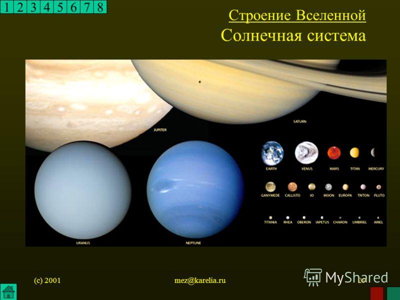(c) 2001mez@karelia.ru29 12345678 Строение Вселенной Солнечная система