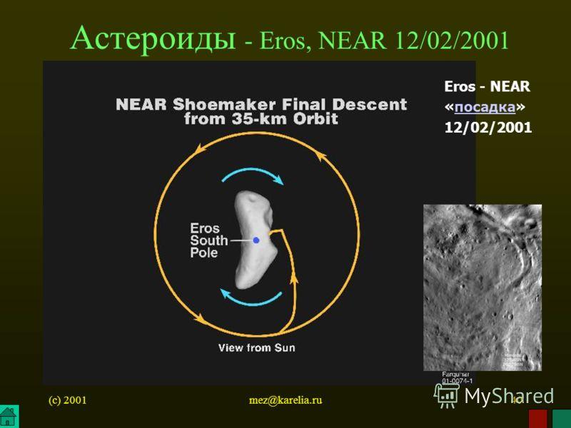 (c) 2001mez@karelia.ru40 Астероиды - Eros, NEAR 12/02/2001 Eros - NEAR «посадка» 12/02/2001