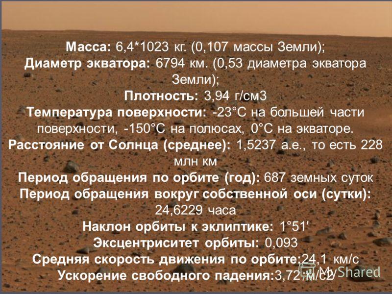 Масса: 6,4*1023 кг. (0,107 массы Земли); Диаметр экватора: 6794 км. (0,53 диаметра экватора Земли); Плотность: 3,94 г/см3 Температура поверхности: -23°С на большей части поверхности, -150°С на полюсах, 0°С на экваторе. Расстояние от Солнца (среднее):