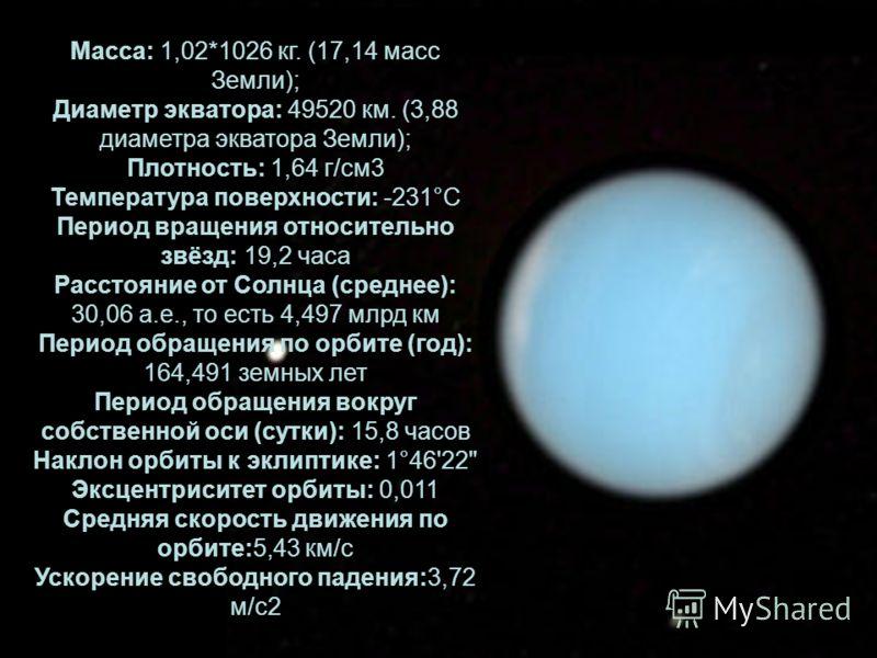 Масса: 1,02*1026 кг. (17,14 масс Земли); Диаметр экватора: 49520 км. (3,88 диаметра экватора Земли); Плотность: 1,64 г/см3 Температура поверхности: -231°С Период вращения относительно звёзд: 19,2 часа Расстояние от Солнца (среднее): 30,06 а.е., то ес