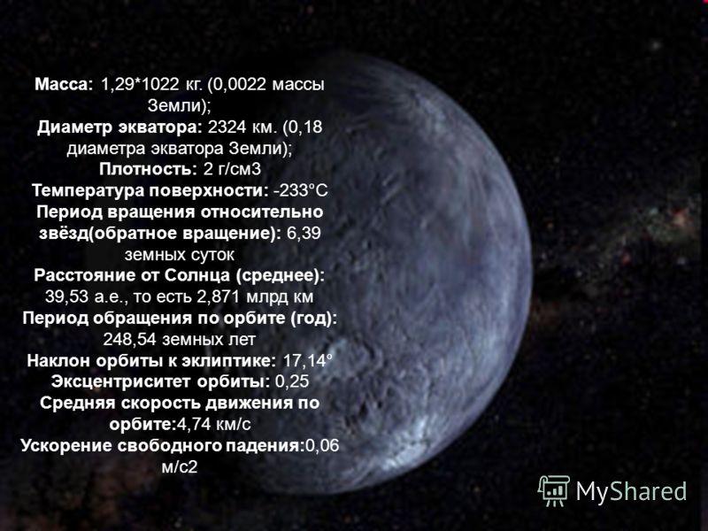 Масса: 1,29*1022 кг. (0,0022 массы Земли); Диаметр экватора: 2324 км. (0,18 диаметра экватора Земли); Плотность: 2 г/см3 Температура поверхности: -233°С Период вращения относительно звёзд(обратное вращение): 6,39 земных суток Расстояние от Солнца (ср