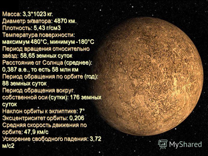 Масса: 3,3*1023 кг. Диаметр экватора: 4870 км. Плотность: 5,43 г/см3 Температура поверхности: максимум 480°С, минимум -180°С Период вращения относительно звёзд: 58,65 земных суток Расстояние от Солнца (среднее): 0,387 а.е., то есть 58 млн км Период о