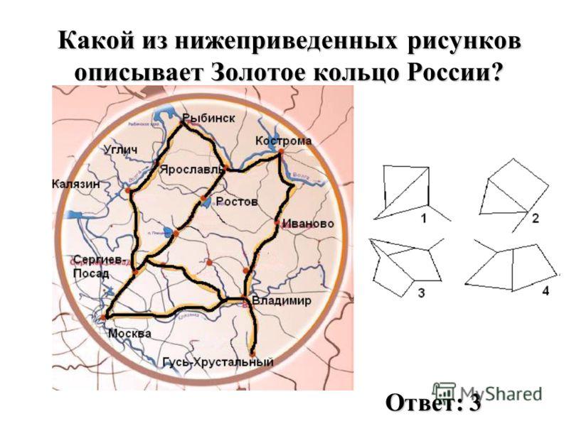 Какой из нижеприведенных рисунков описывает Золотое кольцо России? Ответ: 3