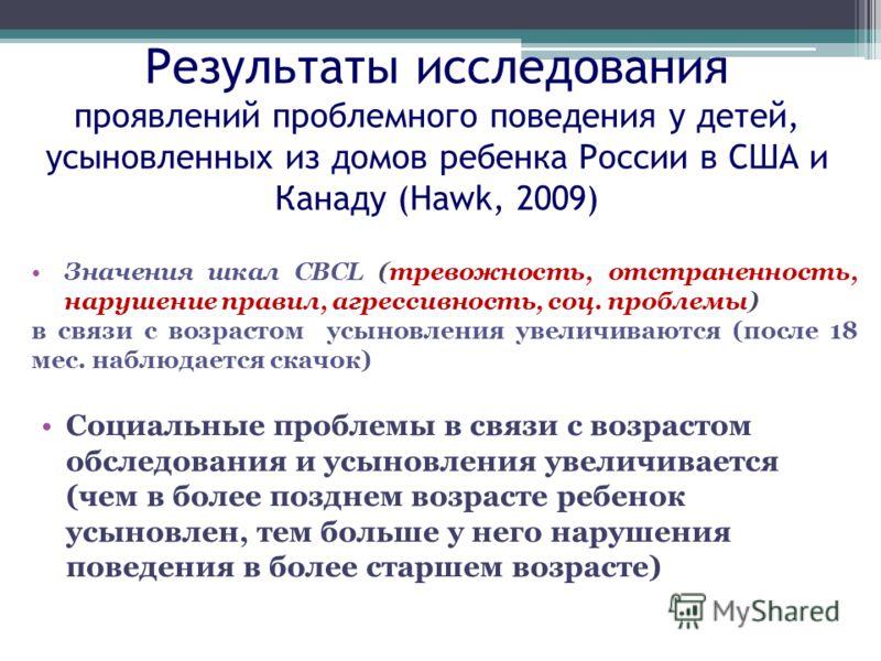 Результаты исследования проявлений проблемного поведения у детей, усыновленных из домов ребенка России в США и Канаду (Hawk, 2009) Значения шкал CBCL (тревожность, отстраненность, нарушение правил, агрессивность, соц. проблемы) в связи с возрастом ус