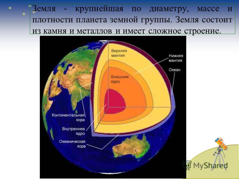 Земля - крупнейшая по диаметру, массе и плотности планета земной группы. Земля состоит из камня и металлов и имеет сложное строение.