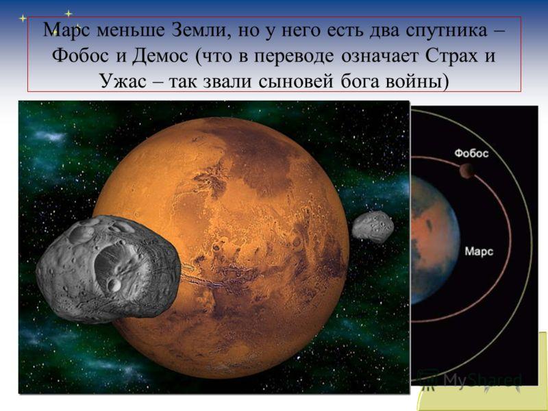 Марс меньше Земли, но у него есть два спутника – Фобос и Демос (что в переводе означает Страх и Ужас – так звали сыновей бога войны)