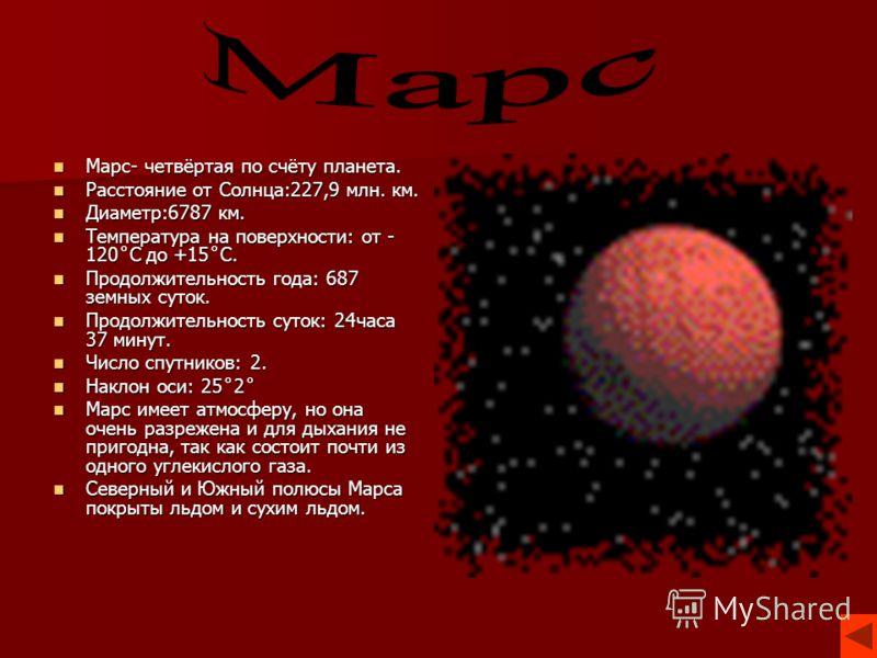 Марс- четвёртая по счёту планета. Марс- четвёртая по счёту планета. Расстояние от Солнца:227,9 млн. км. Расстояние от Солнца:227,9 млн. км. Диаметр:6787 км. Диаметр:6787 км. Температура на поверхности: от - 120˚С до +15˚С. Температура на поверхности: