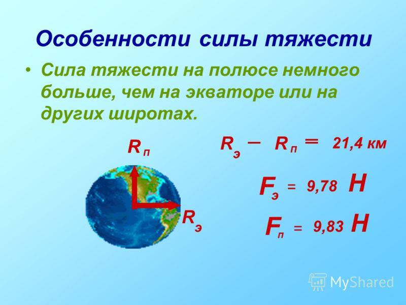 Особенности силы тяжести Сила тяжести на полюсе немного больше, чем на экваторе или на других широтах. R п R э R R п R э 21,4 км F F э п = = 9,78 9,83 Н Н