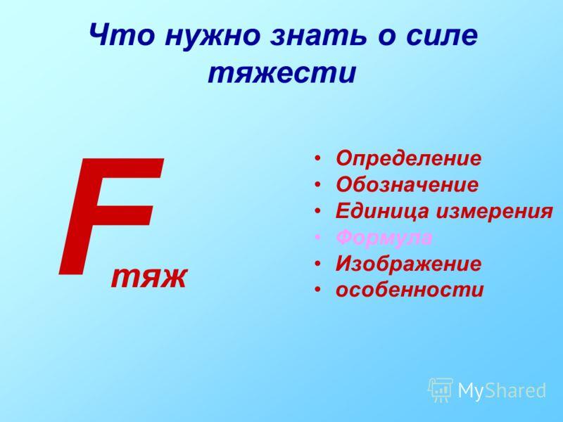 Что нужно знать о силе тяжести Определение Обозначение Единица измерения Формула Изображение особенности F тяж
