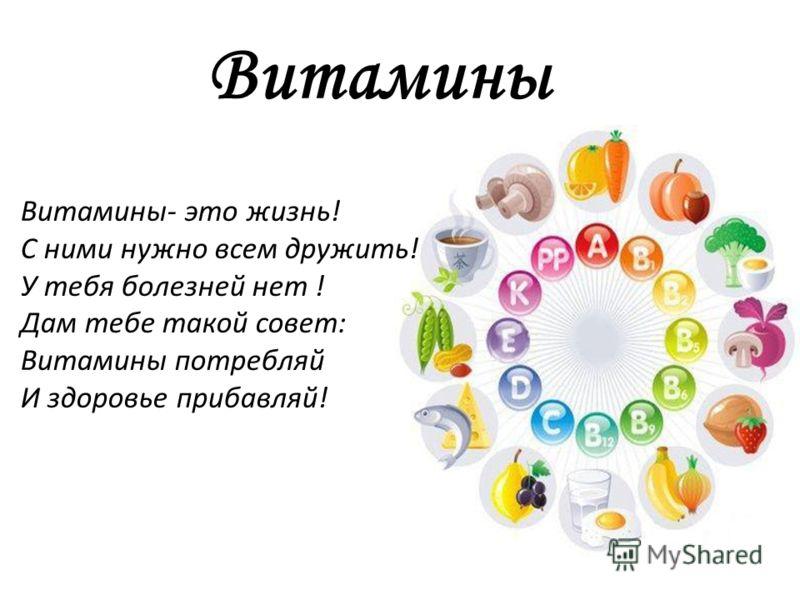 Витамины Витамины- это жизнь! С ними нужно всем дружить! У тебя болезней нет ! Дам тебе такой совет: Витамины потребляй И здоровье прибавляй!