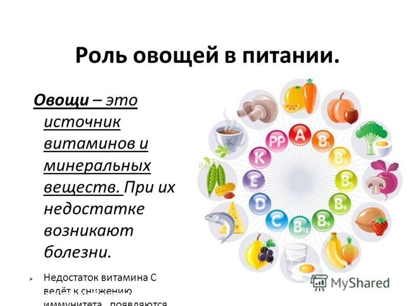 Роль овощей в питании. Овощи – это источник витаминов и минеральных веществ. При их недостатке возникают болезни. Недостаток витамина С ведёт к снижению иммунитета, появляются сонливость, кровоточивость десен, ослабляется внимание. При недостатке вит