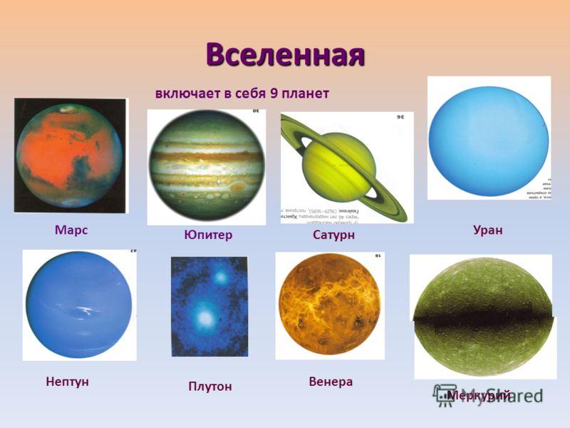 Вселенная включает в себя 9 планет Марс ЮпитерСатурн Уран Нептун Плутон Венера Меркурий