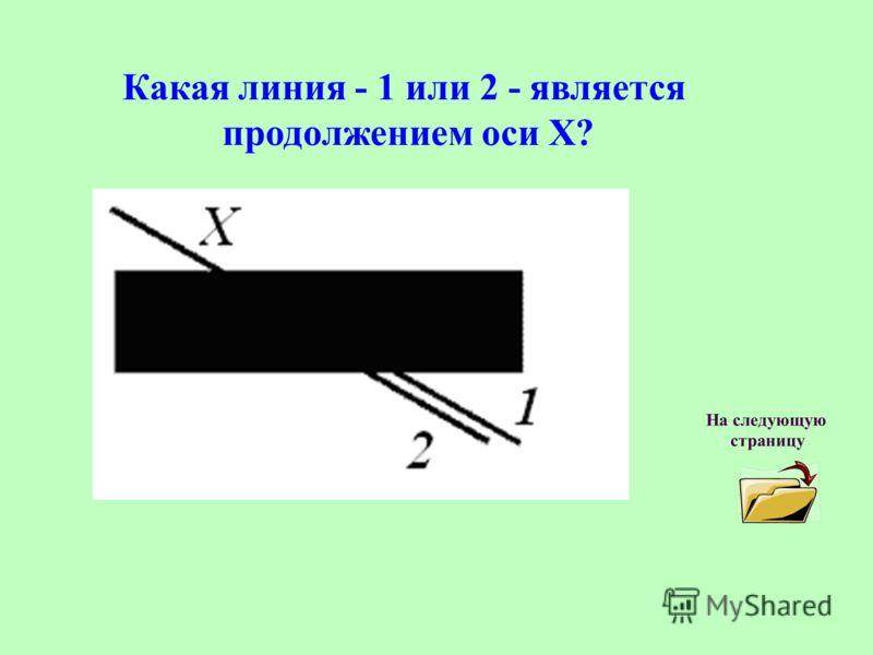 Какая линия - 1 или 2 - является продолжением оси Х? На следующую страницу