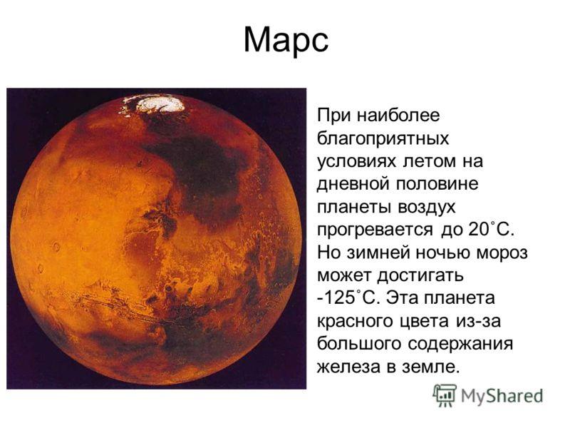 Марс При наиболее благоприятных условиях летом на дневной половине планеты воздух прогревается до 20˚С. Но зимней ночью мороз может достигать -125˚С. Эта планета красного цвета из-за большого содержания железа в земле.