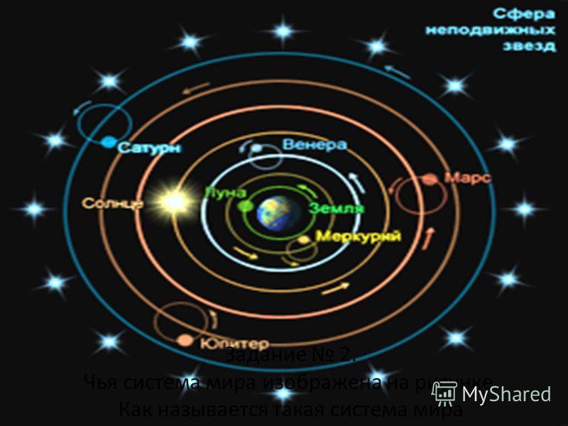Задание 2. Чья система мира изображена на рисунке. Как называется такая система мира