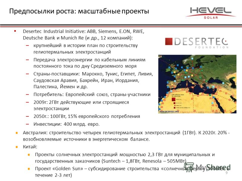 Предпосылки роста: масштабные проекты Desertec Industrial Initiative: ABB, Siemens, E.ON, RWE, Deutsche Bank и Munich Re (и др., 12 компаний): – крупнейший в истории план по строительству гелиотермальных электростанций – Передача электроэнергии по ка