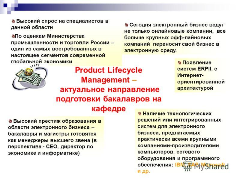Product Lifecycle Маnagement – актуальное направление подготовки бакалавров на кафедре Высокий спрос на специалистов в данной области По оценкам Министерства промышленности и торговли России – один из самых востребованных в настоящее сегментов соврем