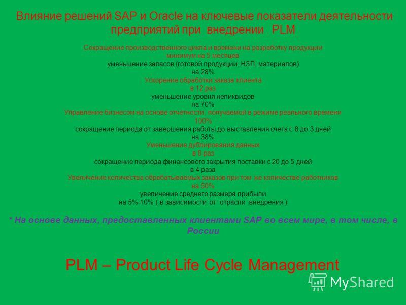 Влияние решений SAP и Oracle на ключевые показатели деятельности предприятий при внедрении PLM Сокращение производственного цикла и времени на разработку продукции минимум на 5 месяцев уменьшение запасов (готовой продукции, НЗП, материалов) на 28% Ус