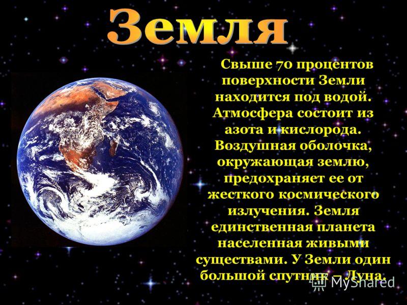 Свыше 70 процентов поверхности Земли находится под водой. Атмосфера состоит из азота и кислорода. Воздушная оболочка, окружающая землю, предохраняет ее от жесткого космического излучения. Земля единственная планета населенная живыми существами. У Зем