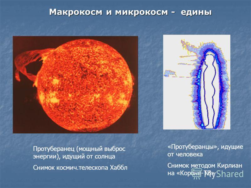 Протуберанец (мощный выброс энергии), идущий от солнца Снимок космич.телескопа Хаббл «Протуберанцы», идущие от человека Снимок методом Кирлиан на «Короне-ТВ» Макрокосм и микрокосм - едины