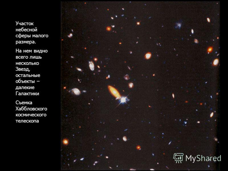Участок небесной сферы малого размера. На нем видно всего лишь несколько Звезд, остальные объекты – далекие Галактики Съемка Хаббловского космического телескопа