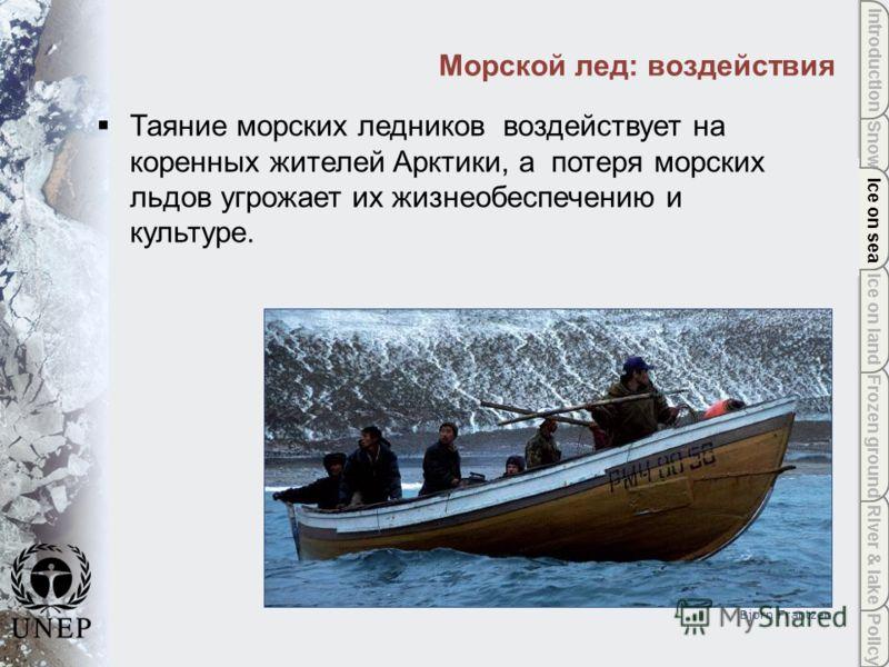 Policy River & lake Frozen ground Ice on land Ice on sea Snow Introduction Ice on sea Морской лед: воздействия Bjørn Frantzen Таяние морских ледников воздействует на коренных жителей Арктики, а потеря морских льдов угрожает их жизнеобеспечению и куль