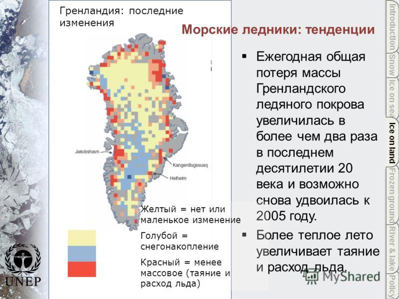 Policy River & lake Frozen ground Ice on land Ice on sea Snow Introduction Ice on land Гренландия: последние изменения Морские ледники: тенденции Ежегодная общая потеря массы Гренландского ледяного покрова увеличилась в более чем два раза в последнем