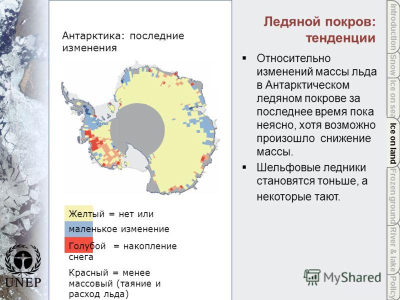 Policy River & lake Frozen ground Ice on land Ice on sea Snow Introduction Ice on land Ледяной покров: тенденции Антарктика: последние изменения Желтый = нет или маленькое изменение Голубой = накопление снега Красный = менее массовый (таяние и расход