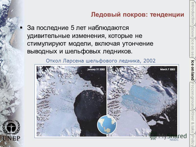Policy River & lake Frozen ground Ice on land Ice on sea Snow Introduction Ice on land Ледовый покров: тенденции NSIDC За последние 5 лет наблюдаются удивительные изменения, которые не стимулируют модели, включая утончение выводных и шельфовых ледник