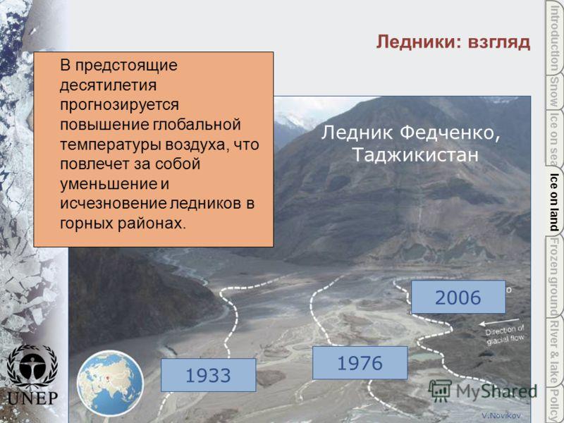 Policy River & lake Frozen ground Ice on land Ice on sea Snow Introduction Ice on land Ледники: взгляд 2006 1976 1933 V.Novikov В предстоящие десятилетия прогнозируется повышение глобальной температуры воздуха, что повлечет за собой уменьшение и исче