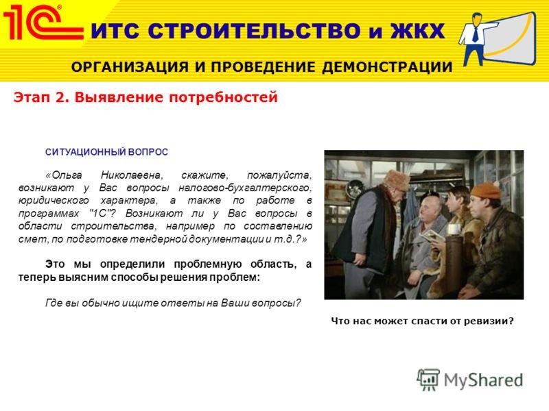 Этап 2. Выявление потребностей СИТУАЦИОННЫЙ ВОПРОС «Ольга Николаевна, скажите, пожалуйста, возникают у Вас вопросы налогово-бухгалтерского, юридического характера, а также по работе в программах