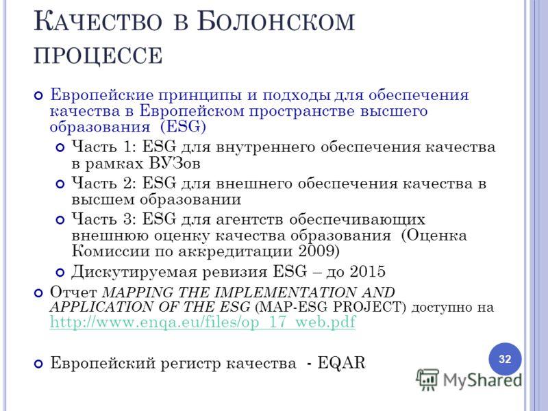 К АЧЕСТВО В Б ОЛОНСКОМ ПРОЦЕССЕ Европейские принципы и подходы для обеспечения качества в Европейском пространстве высшего образования (ESG) Часть 1: ESG для внутреннего обеспечения качества в рамках ВУЗов Часть 2: ESG для внешнего обеспечения качест