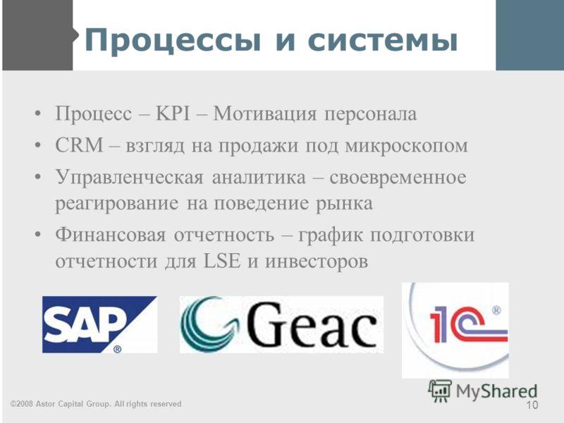 ©2008 Astor Capital Group. All rights reserved 10 Процессы и системы Процесс – KPI – Мотивация персонала CRM – взгляд на продажи под микроскопом Управленческая аналитика – своевременное реагирование на поведение рынка Финансовая отчетность – график п