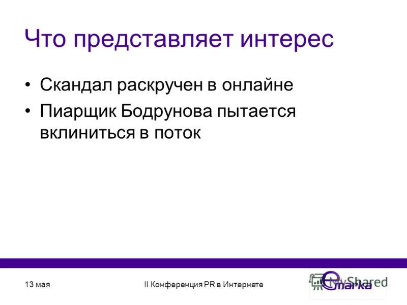 13 маяII Конференция PR в Интернете Что представляет интерес Скандал раскручен в онлайне Пиарщик Бодрунова пытается вклиниться в поток