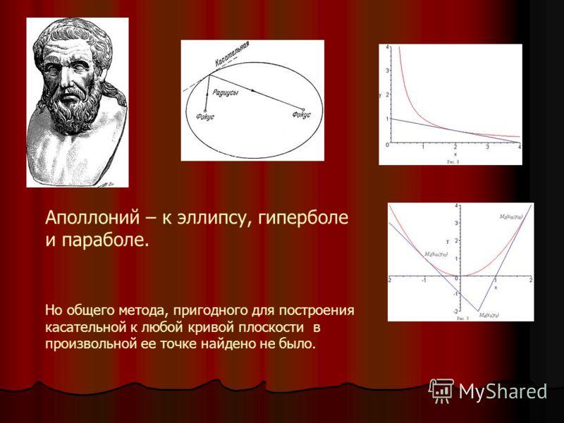 Аполлоний – к эллипсу, гиперболе и параболе. Но общего метода, пригодного для построения касательной к любой кривой плоскости в произвольной ее точке найдено не было.