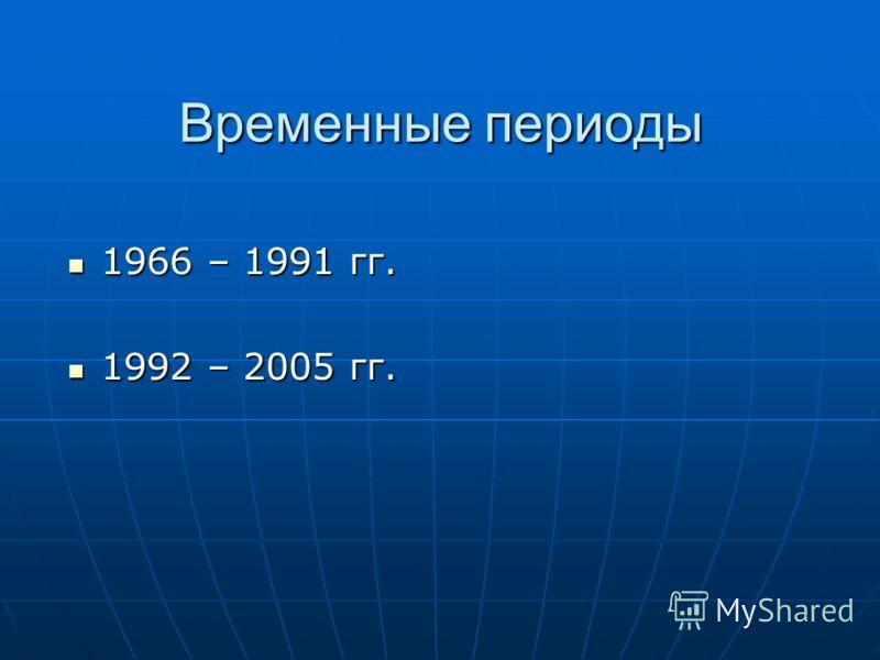 Временные периоды 1966 – 1991 гг. 1966 – 1991 гг. 1992 – 2005 гг. 1992 – 2005 гг.