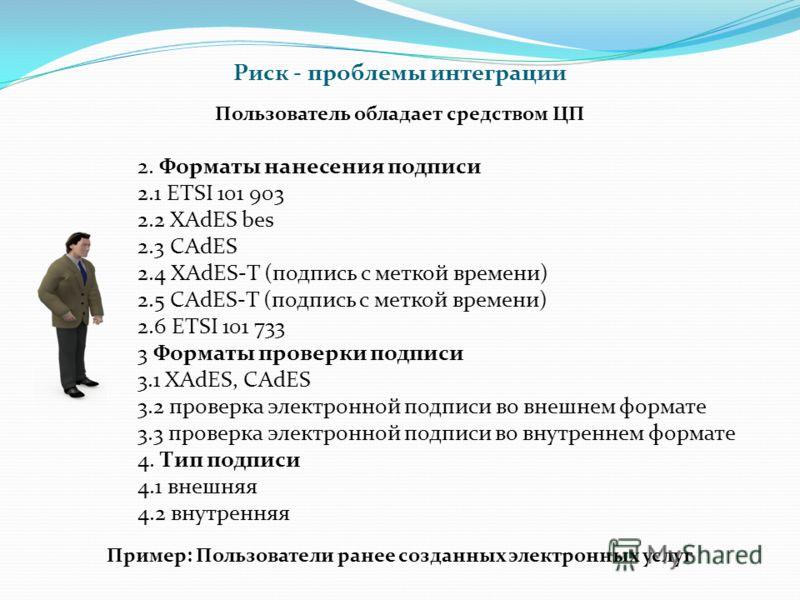 2. Форматы нанесения подписи 2.1 ETSI 101 903 2.2 XAdES bes 2.3 CAdES 2.4 XAdES-T (подпись с меткой времени) 2.5 CAdES-T (подпись с меткой времени) 2.6 ETSI 101 733 3 Форматы проверки подписи 3.1 XAdES, CAdES 3.2 проверка электронной подписи во внешн