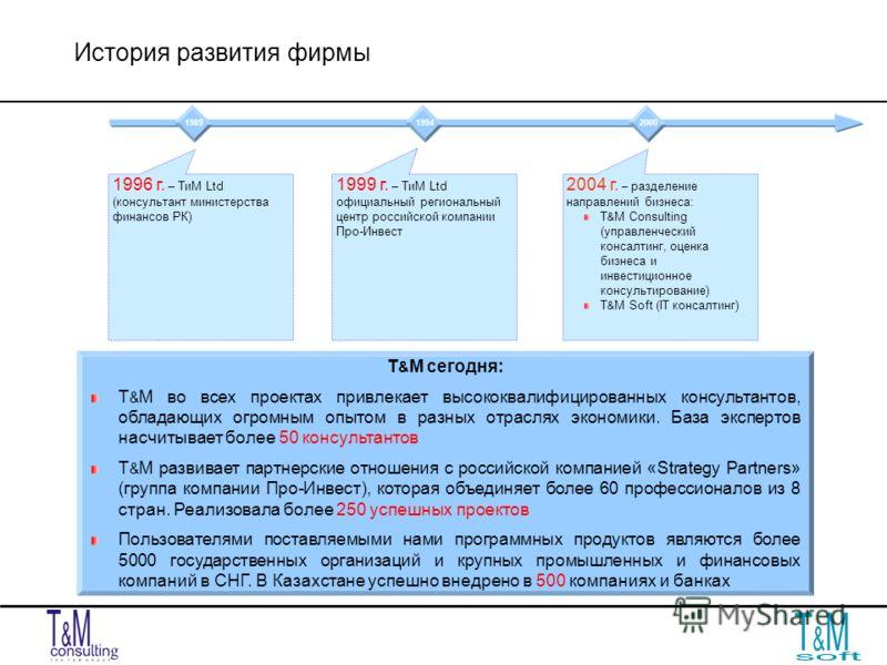 История развития фирмы 19 96 г. – ТиМ Ltd (консультант министерствафинансов РК) 1999 г. – ТиМ Ltd официальный региональныйцентр российской компанииПро-Инвест 2004 г. – разделение направлений бизнеса: Т & М Consulting (управленческийконсалтинг, оценка