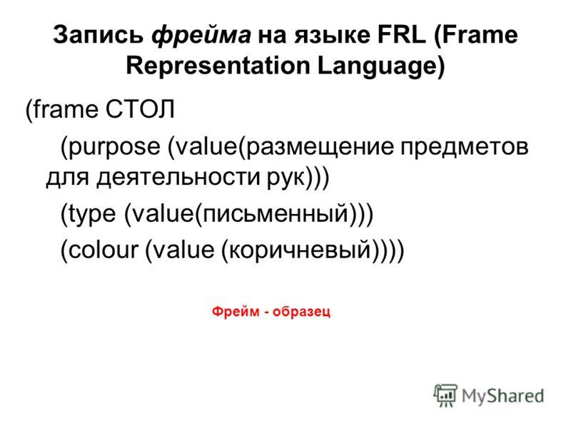 Запись фрейма на языке FRL (Frame Representation Language) (frame СТОЛ (purpose (value(размещение предметов для деятельности рук))) (type (value(письменный))) (colour (value (коричневый)))) Фрейм - образец