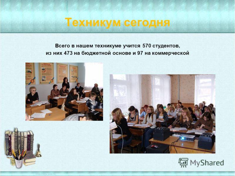 Техникум сегодня Всего в нашем техникуме учится 570 студентов, из них 473 на бюджетной основе и 97 на коммерческой