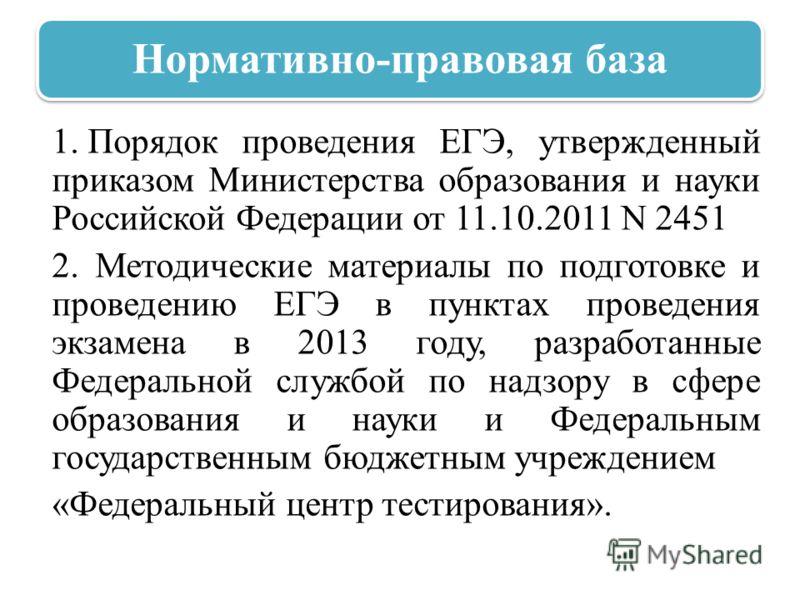 Нормативно-правовая база 1. Порядок проведения ЕГЭ, утвержденный приказом Министерства образования и науки Российской Федерации от 11.10.2011 N 2451 2. Методические материалы по подготовке и проведению ЕГЭ в пунктах проведения экзамена в 2013 году, р