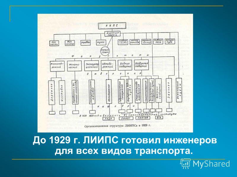 До 1929 г. ЛИИПС готовил инженеров для всех видов транспорта.